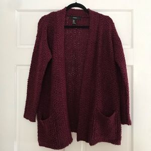 Forever 21 Cranberry Maroon Cardigan with Pockets